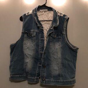 Jean Vest with Crochet Insert